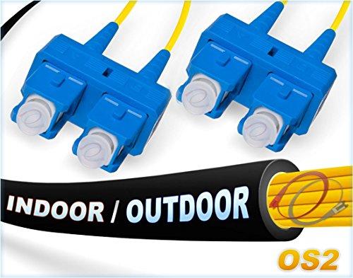 - FiberCablesDirect - 300M OS2 SC SC Fiber Patch Cable | Indoor/Outdoor Duplex 9/125 SC to SC Singlemode Jumper 300 Meter (984.25ft) | Length Options: 0.5-300M | sc-sc dx Single-Mode in/Outdoor Black