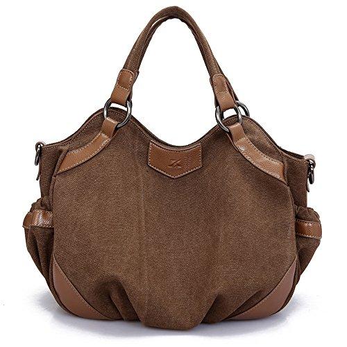 Fashion Women Handbags Canvas Large Tote Bags (brown) by MINGCHEN