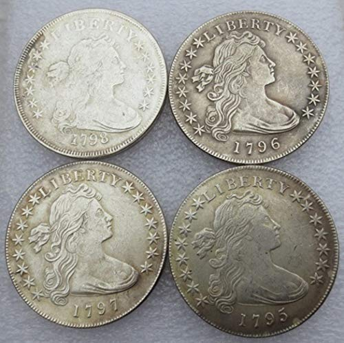 Rare Antique USA United States Full Set 1795-1798 Year 4Pcs Flowing Hair Liberty Silver Color Dollar Coin