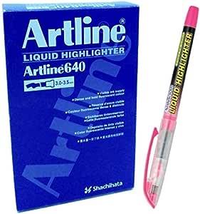 قلم تظهير رقم 640 مقاس 3.0 - 3.5 ملم، لون قرنفلي فسفوري، علبة 12 قلم من ارتلاين