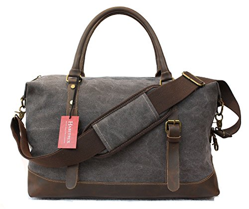 Weekender Duffel Bag Travel Tote - Canvas Genuine Leather Overnight Bag by Habitoux