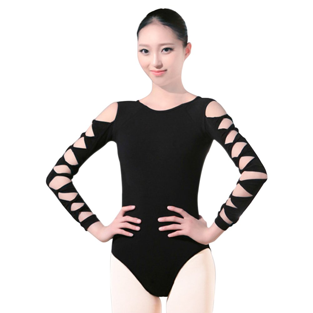 BOZEVON Damen Mädchen Sexy Rückenfrei ärmellos Spitze Ballett Turnanzug Trikot Gymnastikanzug