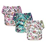 Reusable Swim Diaper Training Pants – Adjustable Pull Ups with Insert for Toddler Girls and Boys 3-Pack (Size 2/15-35Lb, Girl)