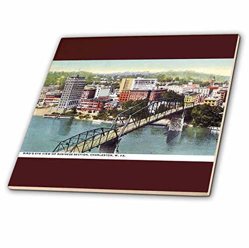 View Birdseye Postcard (3dRose BLN Vintage US Cities and States Postcards - Birds Eye View of Business Section Charleston West Virginia - 4 Inch Ceramic Tile (ct_170925_1))
