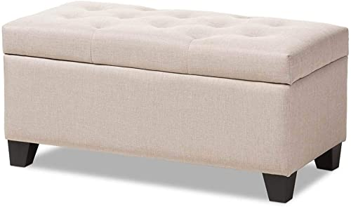 Baxton Studio Michaela Modern and Contemporary Beige Fabric Upholstered Storage Ottoman