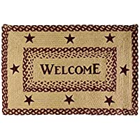 VHC Brands Classic Country Primitive Flooring - Burgundy Tan Jute Red Welcome Rug, 18 x 26