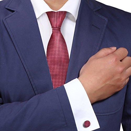 Red plaids neck ties crimson checkers gift for men discount silk neckties cufflinks set A2026 One Size Crimson