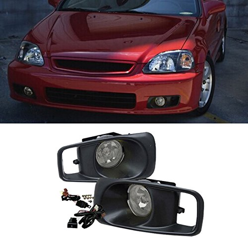 VioGi Fit 99-00 Honda Civic Clear Lens Fog Lights Kit w/ Bulbs+Cover+Switch+Wiring Harness+Relay+Bracket+Necessary Mounting Hardware