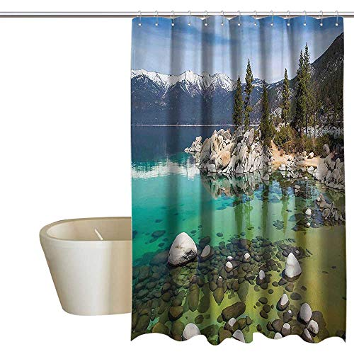(Suchashome United States Landscape Pictures California Collection Kids Bathroom Shower Curtain Sierra Nevada Lake Tahoe Rocky Mountains boy Shower Curtain W72 x L96 Blue Green)