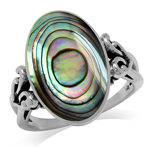 Oval Paua Shell (Oval Shape Abalone/Paua Shell Inlay 925 Sterling Silver Victorian Style Heart Knot Ring Size 11)