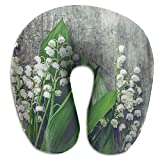 Raglan Carnegie Lilies Wood Blossom Botanical Soft Support Neck Cervical Pillow U-Shaped Stuffed with Memory Foam Portable Travel Headrest Cushion for Airplane Bus Train