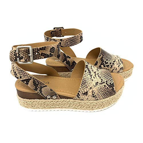 Womens Topic Casual Espadrilles Trim Rubber Sole Flatform Studded Wedge Buckle Ankle Strap Open Toe Sandals (10 M US, Pyth -