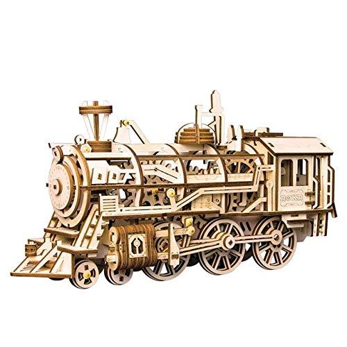 ZAMTAC Robotime Home Decor Figurine DIY Crafts Wooden Clockwork Locomotive Vintage Train Model Kits Decoration Gift for Boyfriend LK701 - (Color: Locomotive) from ZAMTAC