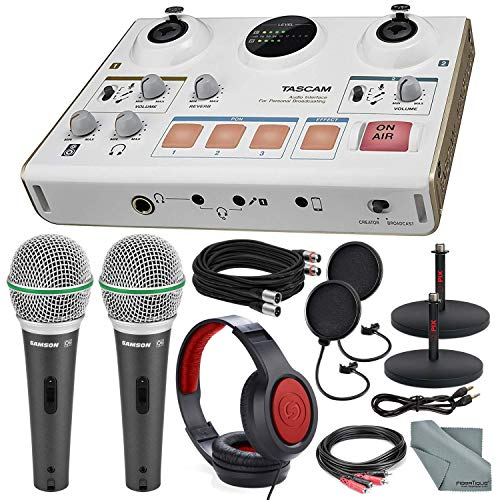 - Tascam US-42 MinStudio Creator Audio Interface for Podcasting W/Platinum Bundle W/Cables + 2 Samson Microphones + Headphones + Pop Filters +Goose Neck Stands + Fibertique Cleaning Cloth