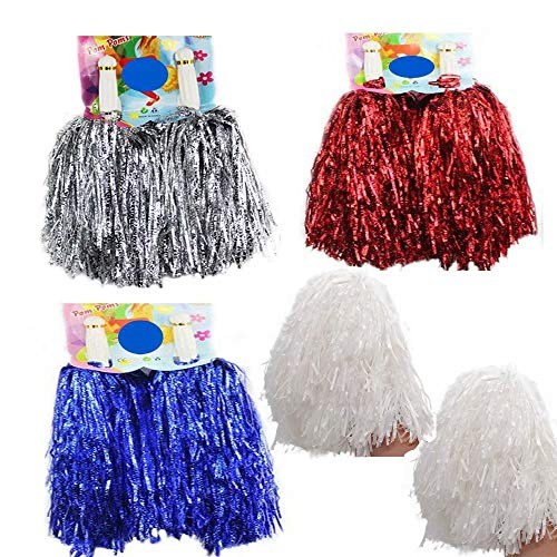 CRIVERS 1 Dozen Cheerleading Pom Poms, 12pc/8pc/4pc Cheerleader Pompoms for Ball Dance Fancy Dress Night Party Sport
