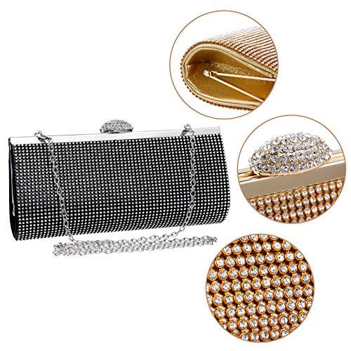 Black Prom Purse Bag Ladies Bridal Bags Diamante Clutches Women's Wallet Evening Dress Chain aw7q6qPx