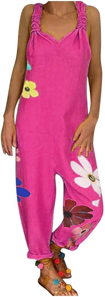 UOKNICE BLOUSE Women Casual Solid Color Pocket Romper Plus Size Long Knot Strap Jumpsuit: Clothing