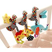 Cute Giraffe Elephant Star Spiral Hanging Around Crib Cot Rattle Toy Plush Newborn Baby Infant Toddler Multifunctional Rattle Sound Paper Music Ball Toy by SamGreatWorld