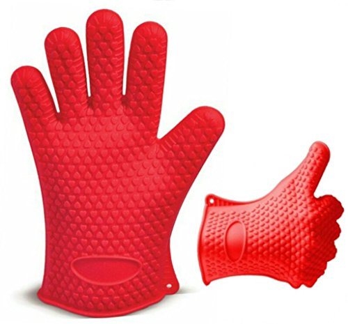Red Heat Resistant Silicone Gloves