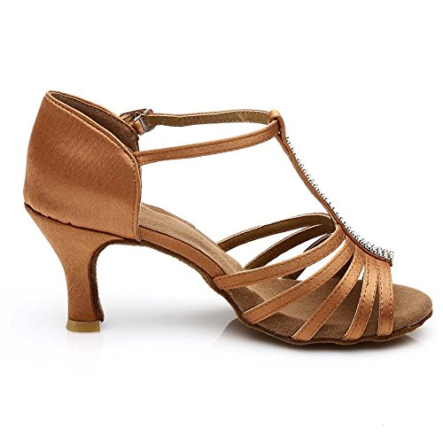 JINFENGKAI Women's Latin Salsa Dance Shoes Style 227 Brown LV5I4MYTxW
