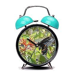 Blue Alarm Clock, Retro Portable Twin Bell Beside Alarm Clocks with Nightlight-071.Butterfly on flower