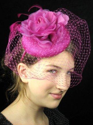 Pretty Cool - Fuchsia Pink Pill Box Hat Hairband Fascinator with Veil    Flower  Amazon.co.uk  Clothing ad21b242704