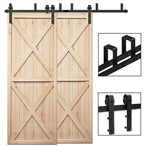 CCJH 8FT Bypass Double Door Sliding Barn Door Hardware Kit Black, Strong Bearing, U-Shape Bracket System, Fit 48