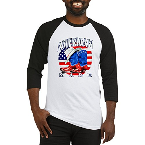 Royal Lion Baseball Jersey US American Flag Country Cowboy Boots - Black/White, Large