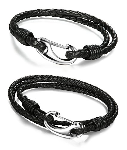 FIBO STEEL 2 Pcs Stainless Steel Braided Leather Bracelets for Men Handmade Bracelets,7.5 inches