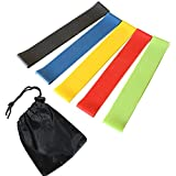 Leoie 5Pcs Exercise Resistance Loop Bands Yoga Resistance Belt Latex Stretching Band for Physical Therapy and Home Fitness