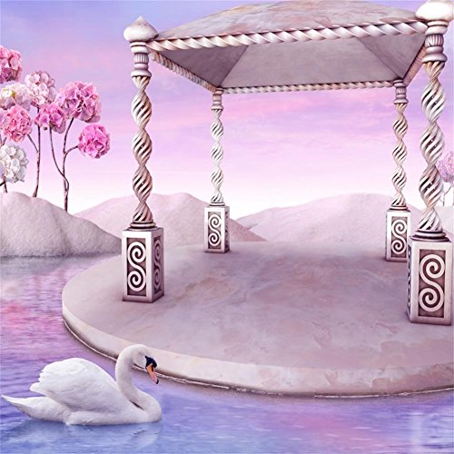 AOFOTO 6x6ft Sweet Garden Backdrop Swan Lake Retro Pavilion Photography Background Dreamy Paradise Fairy Tale Vintage Gazebo Photo Shoot Studio Props Vinyl Wallpaper Drop Kid Girl Artistic Portrait