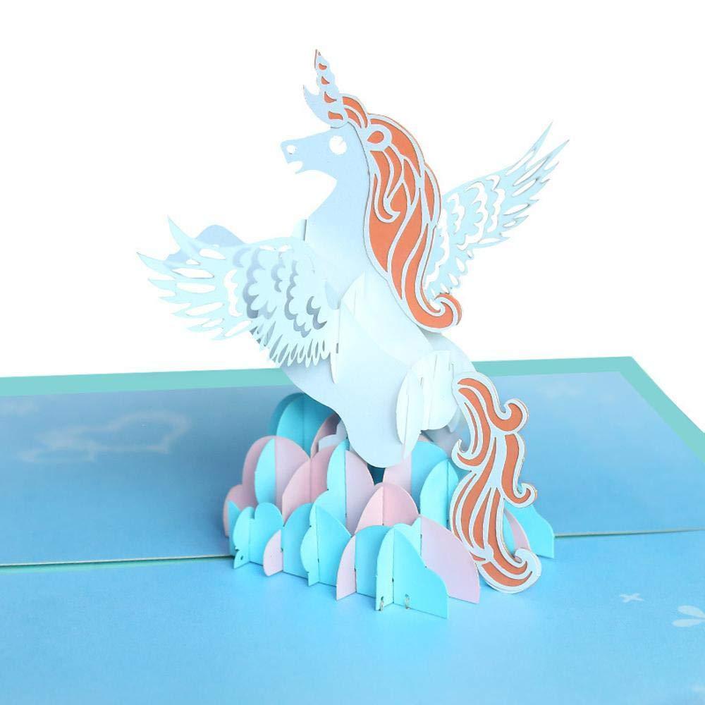 Mayanyan Geburtstag Grußkarte Einhorn kreative 3D Dreidimensionale Büttenpapier schnitzen Pegasus Stereo-Gruß-Karte Kinder Handgemachte Karte 10