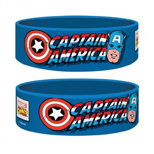 [Official Marvel Captain America Gummy Wristband - Blue] (Fantastic 4 Costume Uk)