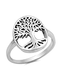 Tree of Life Ring New .925 Sterling Silver Filigree Cutout Band Sizes 5-10