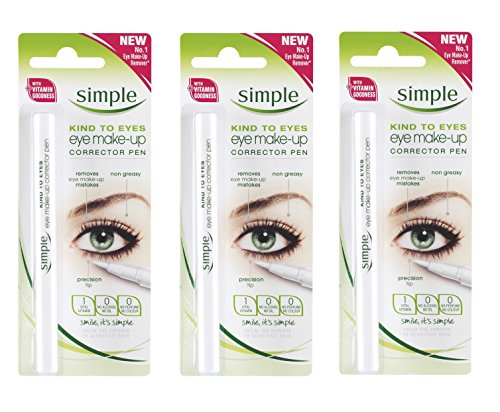 Simple Kind To Eyes Eye Make-up Corrector Pen, Fixes Makeup Mistakes (Pack of 3) + FREE Makeup (Makeup Corrector Pen)