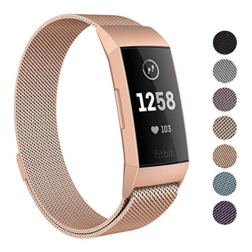 SWEES Metal Bands Compatible Fitbit Charge 3 and Charge 3 SE, Milanese Stainless Steel Magnetic Replacement Small & Large (5.5 - 9.9) for Women Men, Silver, Champagne, Rose Gold, Black, Colorful