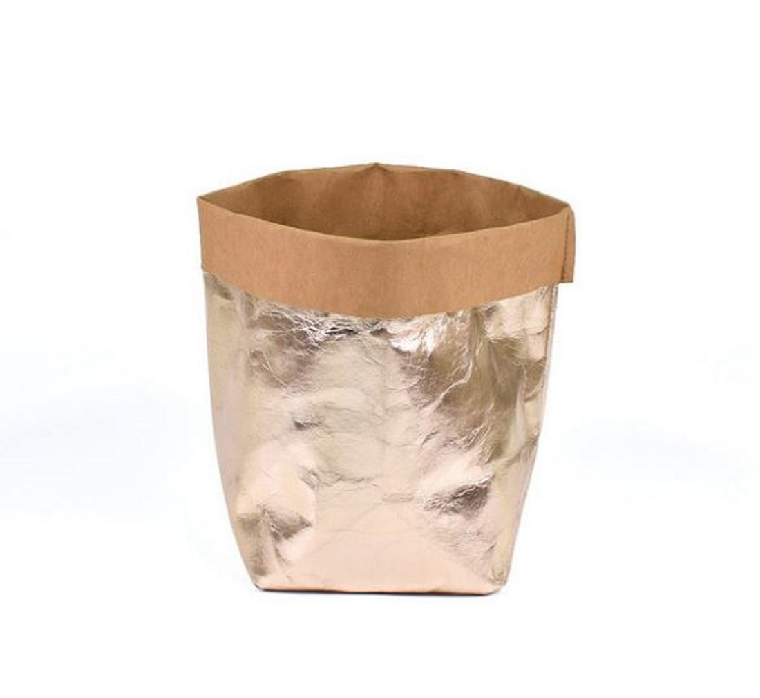 Eco Friendly Urban Chic Rose Gold Decorative Washable Kraft Paper Container for Storage Organizer Toy, Plant 8x8x14 Bg mini