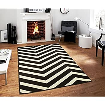 This Item Black Contemporary Chevron Design 5x7 Black Zig Zag Rugs 5 By 7  Area Rug Modern Rugs For Living Room, 5x8 Rugs Black/White