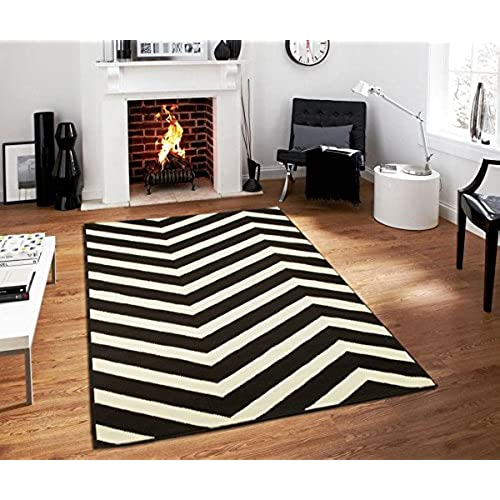 Beau Century Collection Chevron Rugs Large 8x11 Black And White Indoor Outdoor  Area Rug, 8 Feet By 11 Feet Black Carpet 8x10 Rugs For Living Room (8u0027 X  11u0027)