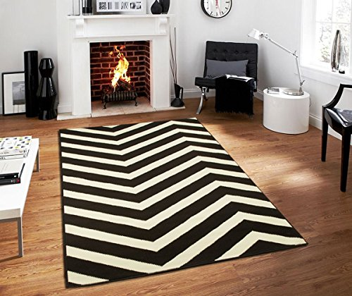 Century Collection Chevron Rugs Large 8x11 Black and White Indoor Outdoor Area Rug, 8 feet by 11 feet Black Carpet 8x10 Rugs For Living Room (8' x 11')