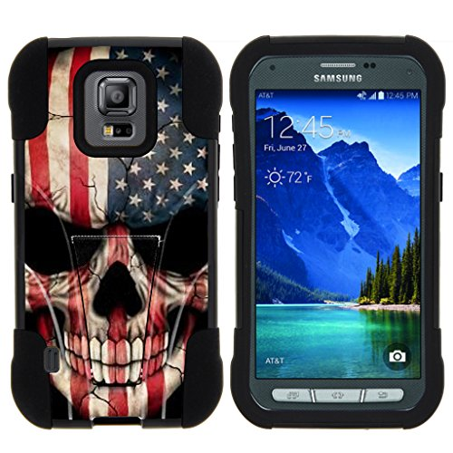 TurtleArmor | Compatible with Samsung Galaxy S5 Active Case | G870 [Gel Max] Hybrid Dual Layer Hard Shell Kickstand Silicone Case - US Flag Skull