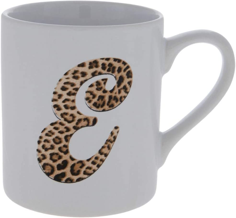 Initial Monogram Ceramic Coffee Mug Leopard Print Personalized Letter E Coffee Cup - Shower Holiday Christmas Hanukkah Birthday Gift for Men & Women (E)