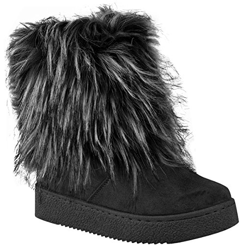 Fashion Thirsty Womens Flat Faux Fur Furry Winter Ankle Boots Low Heel Fluffy Casual Size 9