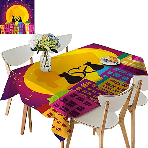 UHOO2018 Printed Fabric Tablecloth Square/Rectangle Night City Wedding Party Restaurant,50 x 72inch ()