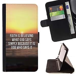 BullDog Case - FOR/Samsung Galaxy S3 Mini I8190Samsung Galaxy S3 Mini I8190 / - / FAITH IS BELIEVING WHAT GOD SAYS /- Monedero de cuero de la PU Llevar cubierta de la caja con el ID Credit Card Slots Flip funda de cuer