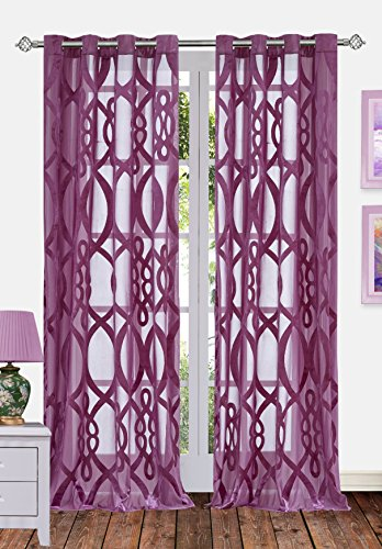 Ifblue 2 Panels Grommet Top Sheerness Velvet Cutting Sheer Window Light Filtering Geometric Pattern Curtains Drapes for Bedroom Kids Living Room (52