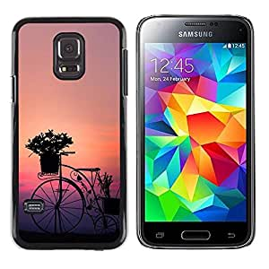 LASTONE PHONE CASE / Carcasa Funda Prima Delgada SLIM Casa Carcasa Funda Case Bandera Cover Armor Shell para Samsung Galaxy S5 Mini, SM-G800, NOT S5 REGULAR! / Bicycle Design Art Flowers Sunset Sunrise Garden