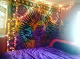 Psychedelic Celestial Indian Sun Hippie Hippy Tapestry Wall Hanging Throw Tie Dye Hippie Hippy Boho Bohemian Tye Die Hand-loomed Window Doorway Door Curtain