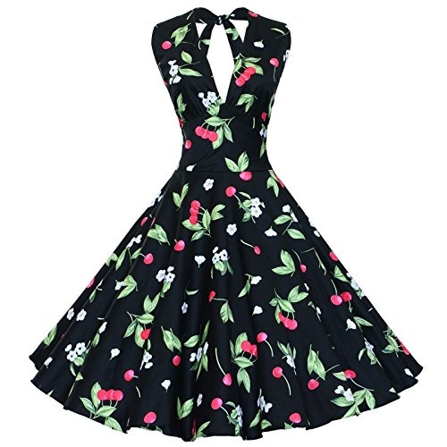 (Maggie Tang Women's 1950s Vintage Rockabilly Dress Size S Color Black Cherry)