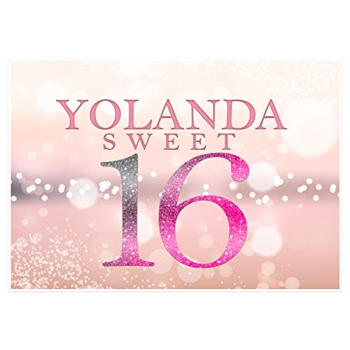 (Pink Sparkles Personalized Sweet Sixteen 16 Birthday Banner Party Decoration)